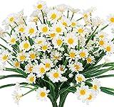 Kokmn Flores artificiales de margaritas, 4 piezas de follaje falso para exteriores, plantas de imitación arbustos de plástico para ventana, maceta, decoración interior y exterior (blanco)