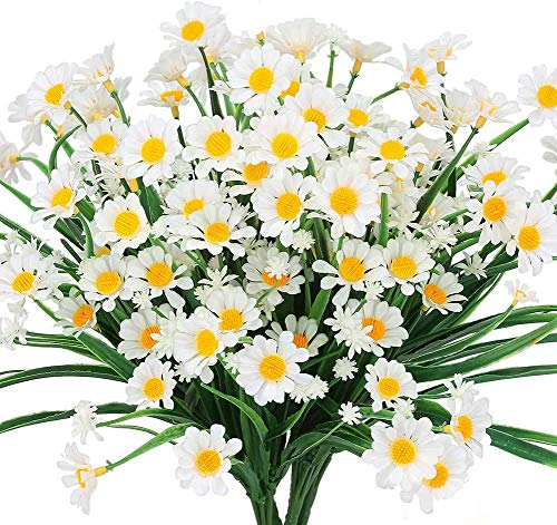 Kokmn Flores artificiales de margaritas, 4 piezas de follaje falso para exteriores, plantas de imitación arbustos de…