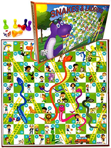 Dedimi Serpientes y escaleras Juegos de mesa para niños Juego tradicional clásico para niños, niñas, amigos y familia calidad tiempo - juego de mesa para niños