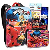 The Miraculous Ladybug Backpack and Lunch Box Set ~ 4 Pc School Supplies Bundle With 15' Miraculous Ladybug School Bag for Girls, Kids, Lunch Bag, Super Hero Girls Fun Pack and More