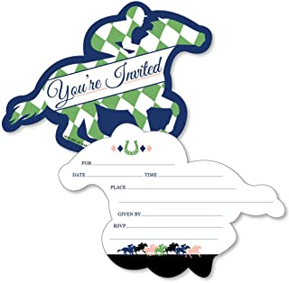 Kentucky Horse Derby - Shaped Fill-in Invitations - Horse Race Party Invitation Cards with Envelopes - Set of 12