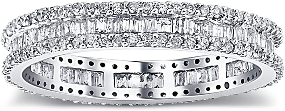 1 1/10 Ct Baguette & Diamond Eternity Ring Wedding Band in White or Yellow Gold