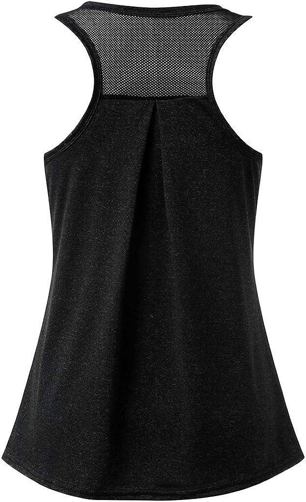 TUDUZ Damen Große Größe Camisole Rundhals Falten T-Shirt Weste Bluse Ärmellos Stretch Tunika Top T-schwarz
