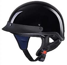 AHR Motorcycle Half Face Helmet DOT Approved Bike Cruiser Chopper High Gloss Black XL