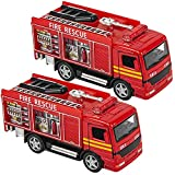 ArtCreativity 5 Inch Diecast Fire Engine Rescue Trucks, Set of 2, Die Cast Toy Firetrucks with Pullback Mechanism, Great Gift Idea for Boys and Girls