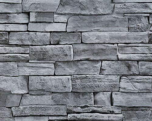 Steintapete Fototapete selbstklebend, 0.45 * 6M Tapete Wandtattoo dekorative Möbelfolie Dekorfolie Fotofolie Wandsticker,Steinoptik Steinwand (#10)