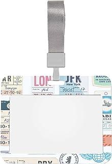 4x3 protège-cartes manches lettre rétro étiquette fantaisie autocollant porte-badge d'identification avec lanière style ho...
