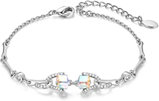 Women Charm Link Bracelet 4 Colors Birthstone Crystal from Swarovski for Girl Fine Fashion Jewelry Ideal Gift for Christmas, 1 Piece with Gift Box
