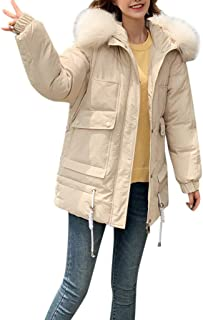 iHHAPY Womens Winter Jacket Transition Jacket Thick Quilted Coat Warm Parka with Faux Fur Collar for 2019 Winter Outdoor