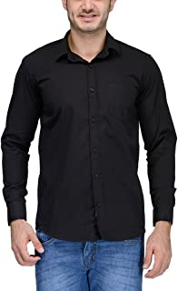 Feed Up Men's Solid Slim Fit Casual Shirt (FeedU103_Black_42)