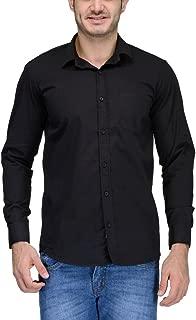 Feed Up Men's Solid Slim Fit Casual Shirt (FeedU103_Black_42)