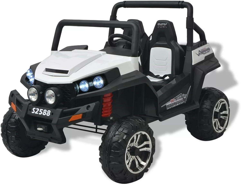 SENLUOWX Elektro-Aufsitzauto für 2 Personen XXL Kinderfahrzeug WKinderauto ei und Schwarz