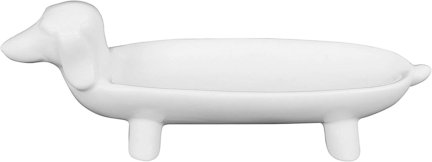 """Creative Co-op White Ceramic Dog Ring Dish, 5.5"""" L x 1.75"""" W : Clothing, Shoes & Jewelry"""
