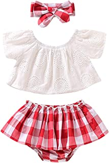 YOUNGER TREE 3Pcs Baby Girl Summer Clothing Sets Bloomer Romper Red Plaid Bow Solid Top