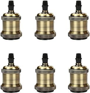 Magiin 6pc 250V 4A Portalámpara para Lámpara Colgante Retro Vintage E26 E27 Edison Listado por UL Vintage Socket Bronze Industrial Decorativo para Iluminación de Bricolaje EU