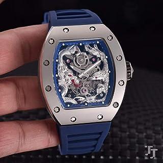 HNOLVH - Relojes Nuevos De Caucho Negro Rojo para Hombres Reloj De Zafiro Mecánico Automático Dragon Tourbillion Calendar Relojes