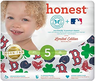 The Honest Company Disposable Baby Diapers Limited Edition Baseball Teams (Size 5 (27+ pounds, 25 Diapers), Boston Red Sox)