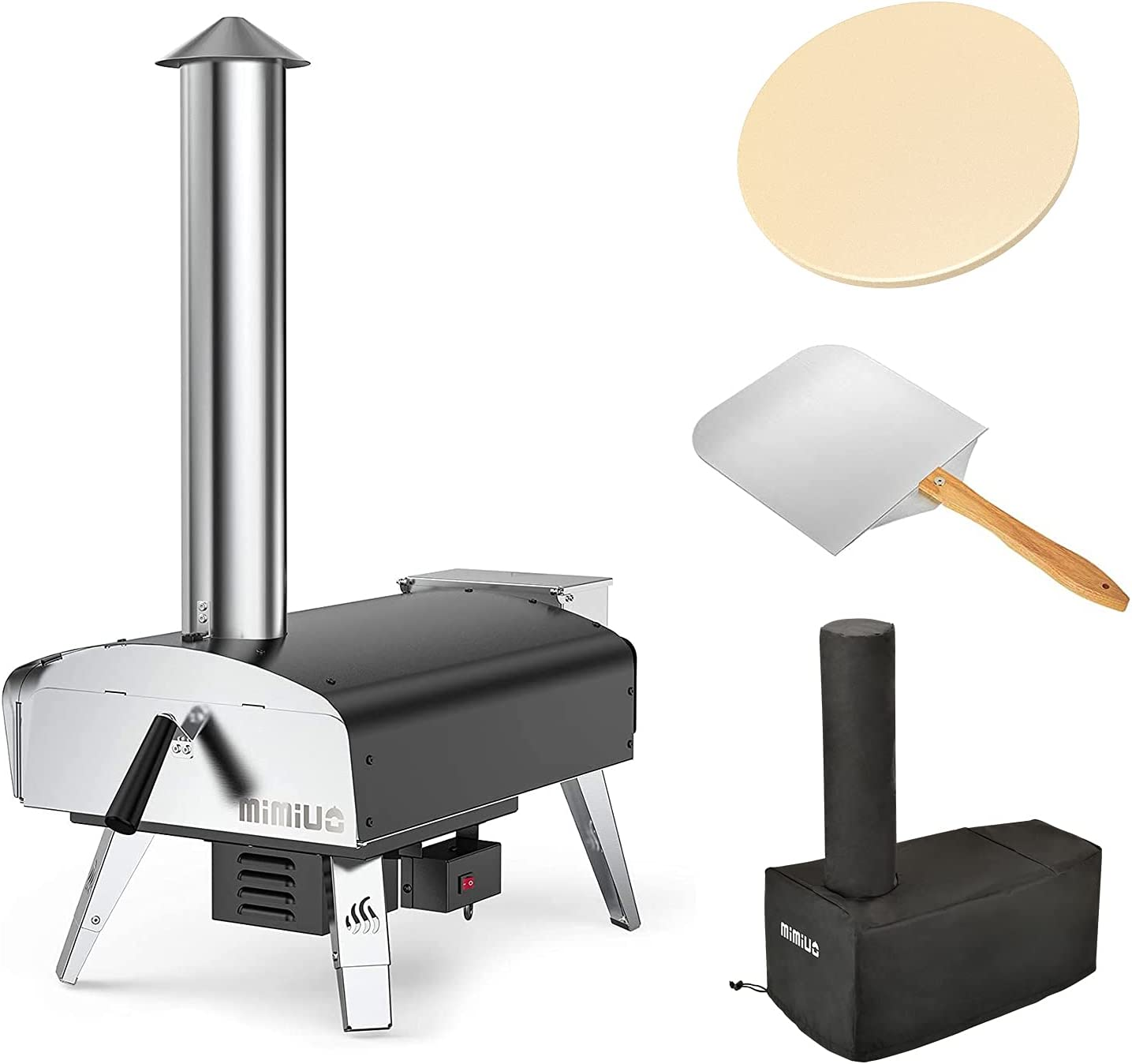 Mimiuo Black Portable Wood Pellet Award Oven Ston Selling with Pizza 13