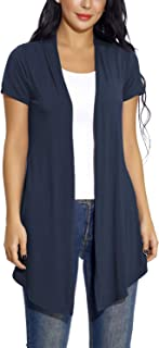 EXCHIC Women's Soft Drape Cardigan Short Sleeves Solid Lightweight Cardigan
