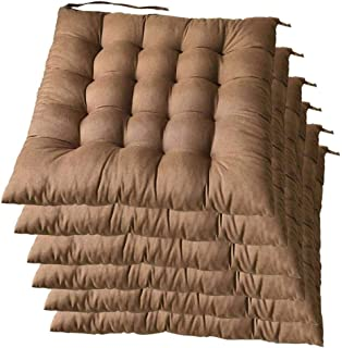 DWXN Cojines para sillas de Jardin con Correas, Cojines de sillas de Cocina 45x45, cómodos Cojines Acolchado Grueso de terraza Cojines para Exterior, para Comedor, Cocina, jardín-Conjunto de 6-marrón
