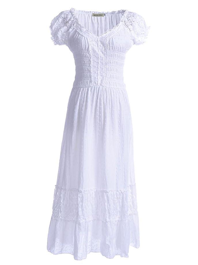 Anna-Kaci Renaissance Peasant Maiden Boho Inspired Cap Sleeve Lace Trim Dress