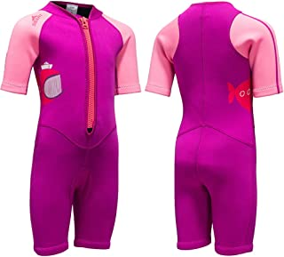 Kids Wetsuit Neoprene Shorty Swimsuit 2MM One Piece Swimming Suit for Girls Boys Youth Teen, Full Body Long Sleeve Surfing Suit Thermal UV for Snorkeling Scuba Diving Fishing