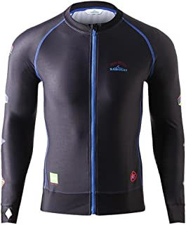 HOTIAN Mens Rash Guard Long Sleeve Zip UPF 50+ Skins Swimsuits Top