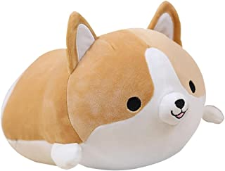 Corgi Dog Plush Pillow, Soft Cute Shiba Inu Akita Stuffed Animals Toy Gifts (Brown, 17.7 in)