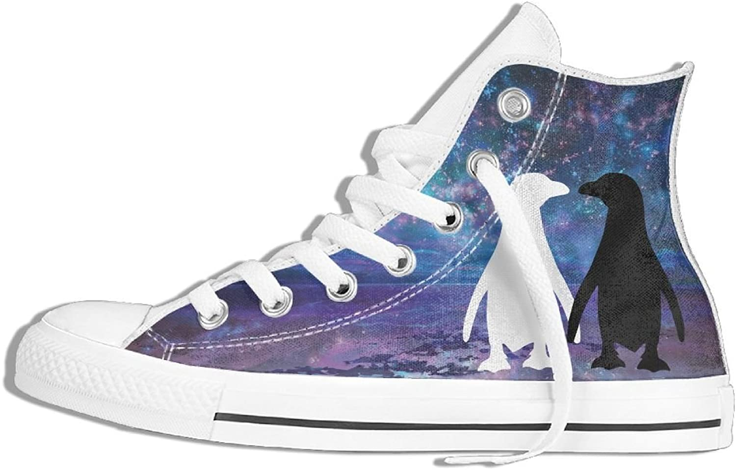 Penguin Cute Couple High Top Classic Casual Canvas Fashion shoes Sneakers For Women & Men