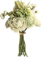 Artificial Flowers Persian Buttercup Crowfoot Ranunculus Wedding Bride Hand Tied Bouquet Home Decoration Flowers,Light Blue