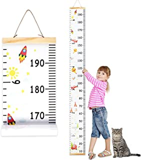 Wall Ruler Growth Chart Wood and Canvas | Baby Growth Chart for Boys and Girls | Space-Inspired Cartoon Patterns | Ready to Hang | 79 Inches x 7.9 Inches | Great for Nurseries, Bedrooms, Wall Decor