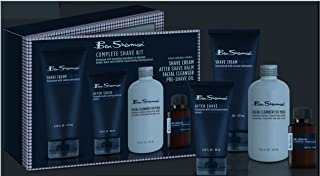 Ben Sherman BE3008 4-Piece Complete Shave Set For Men; Includes Shave Cream, Pre-Shave Oil, After Shave Balm, And Facial Cleanser; Helps Eliminate Stress.