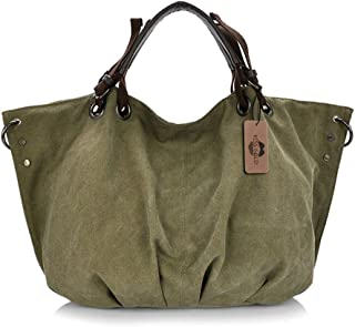 KISS GOLD(TM) European Style Canvas Large Tote Top Handle Bag Shopping Hobo Shoulder Bag, Large Size 22 '' X6.3'' X 14.2 ''