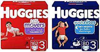 Huggies Day/Night Bundle- Little Movers Baby Diapers, Size 3, 162 Ct, One Month Supply & Overnites Nighttime Diapers, Size...