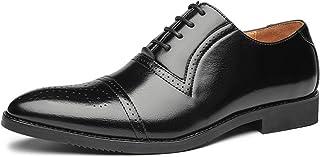 Zapatos Oxford para Hombre Patchwork Brogue Zapatos de Cuero con Punta Puntiaguda Transpirable Low-Top Lace-Up Antidesliza...