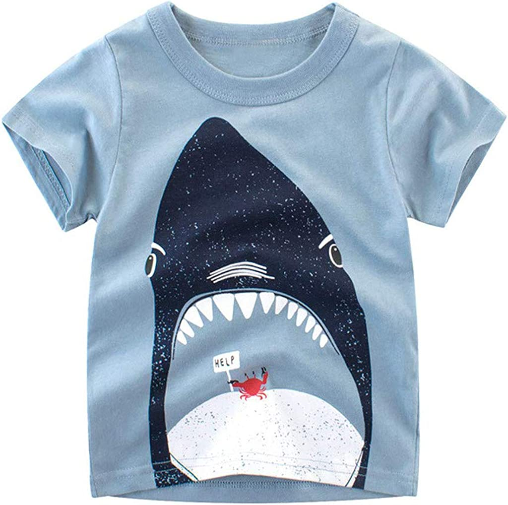 Toddler Infant Summer Outfits,Toddler Kids Baby Boys Cartoon Stripe Fish T Shirt Shorts Outfits Clothes Set