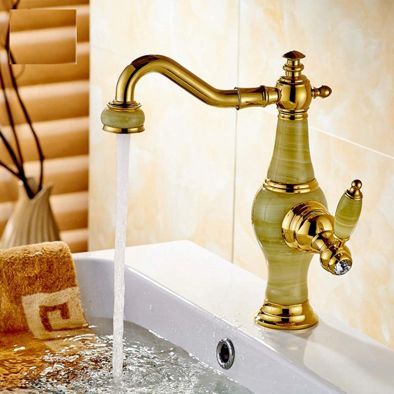 Dwthh Becken Wasserhahn Goldener Messing Jade Krper 360 Grad Swivel Bad Becken Wasserhahn Deck Montieren Arbeitsplatte Wasser Mischbatterie