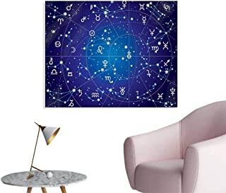 Tudouhoho Astrology Poster Paper Constellation of Zodiac and Planets Original Collection Coordinates of Celestial Wall Sticker Decals Dark Blue W28 xL20