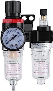 "Zerodis 1/4"" Air Compressor Filter Regulator, Water Pressure Moisture Trap Oil Separator Lubricator Tool"