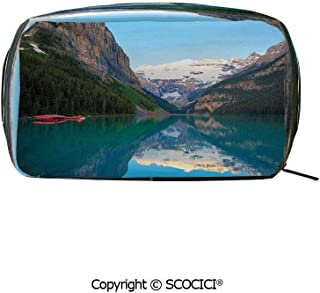 Rectangle Portable makeup organizer Cosmetic Bags Lake Louise with a Red Canoe Banff National Park Canada Wilderness Nature Picture Printed Storage Bags for Women Girls