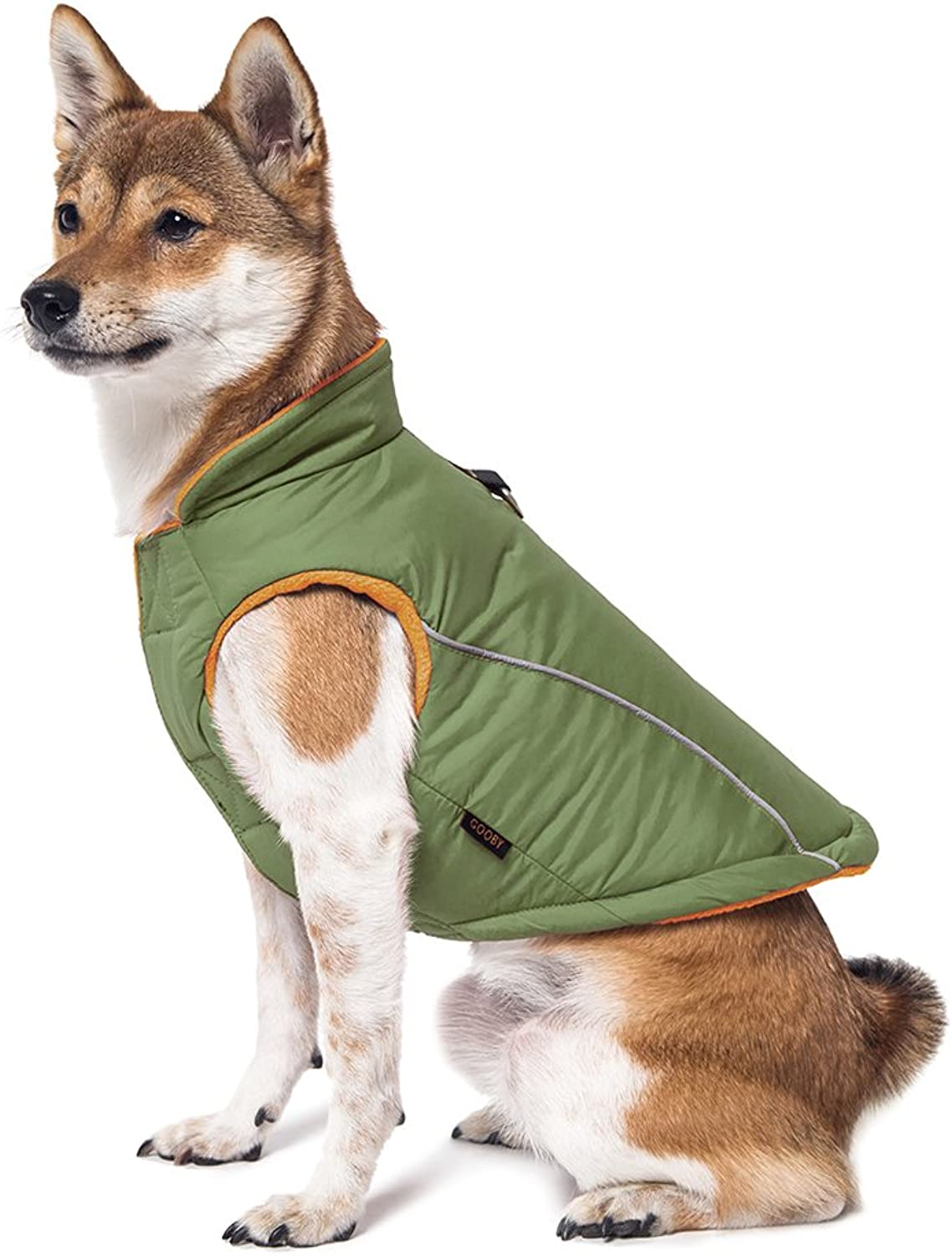 Gooby Cold Weather Fleece Lined Sports Dog Vest with Reflective Lining, XLarge, Green