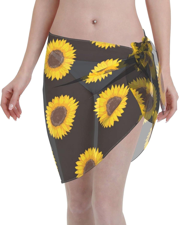 Reindeer Horn Women Short Sunflower On Black Sarongs Cover Ups Beach Chiffon Sarong Bikini Swimwear