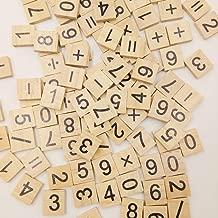 100Pcs/lot English Letter Set Word Scrapbooking Scrabble Number Alphabet Tile Wooden Letter block home DIY crafting (Digital mix)