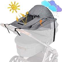 WD&CD Sonnensegel Kinderwagen mit UV Schutz 50 und Wasserdicht, Double layer fabric mit Sichtfenster und extra breite Schattenflügel, Grau