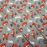 Stoff Baumwolle Meterware Jersey grau Fuchs Hase Schnee