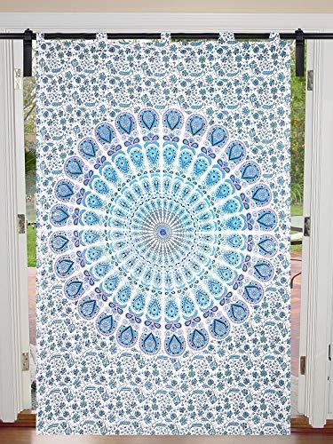 Juego de cortinas de mandala de algodón para ventana de 125 cm x 208 cm, diseño hippie, para decoración de puertas, cortinas de ventana, cortinas para habitación individual