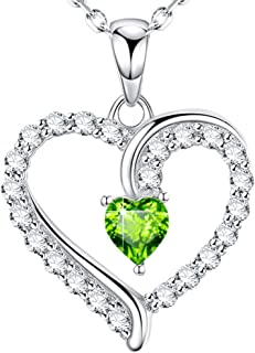 "August Birthstone Green Peridot Necklace Birthday Gifts for Women ❤️ I Love You ❤️ Love Heart Sterling Silver Jewelry 20"" Chain"