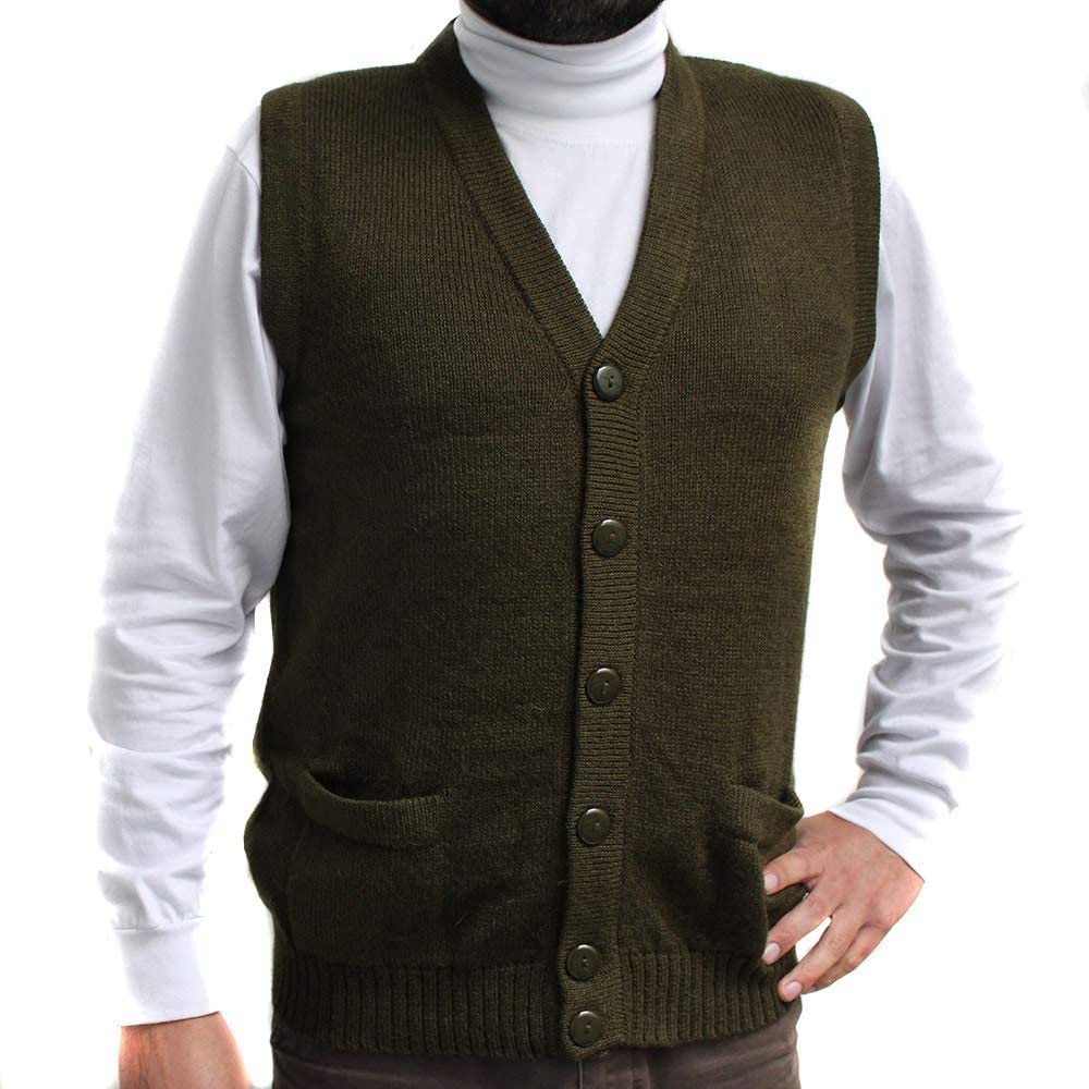 Vest alpaca and blend V neck buttons JERSEY made in PERU buttons and Pockets MILITAR GREEN M