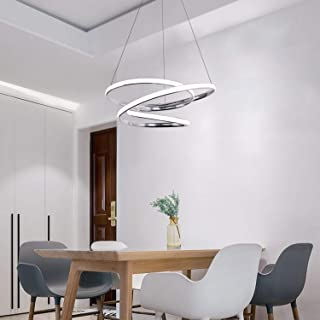 CHYING Modern Pendant Light with Irregular Ring Lights 40W LED Adjustable Chandelier 39.4 inch Ceiling Light Fixture for Dining Room Bedroom Living Room 39.4in Chrome