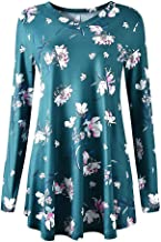 Women's Tops Fashion Print Pleated Casual V-Neck Long Sleeve Loose Flared Shirts